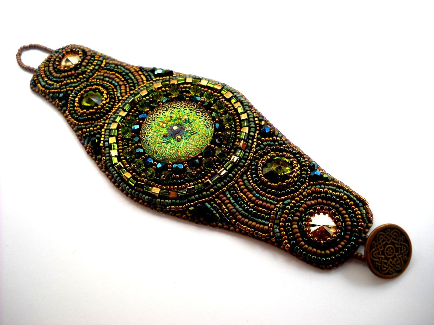 Reserved green bead embroidery bracelet by preciousheartbeads