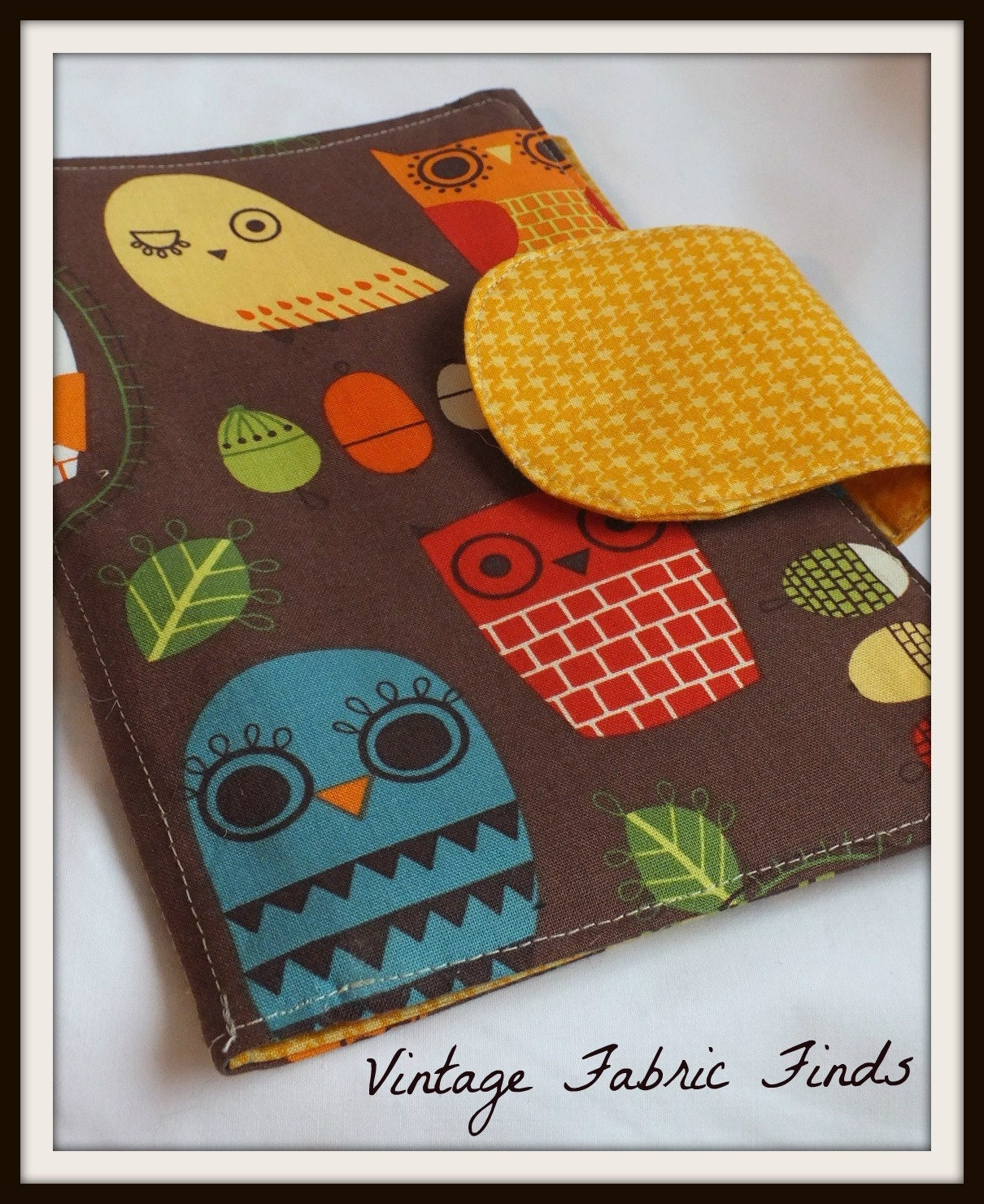 Brown Retro Owl E-Reader Cover Kindle , Nook Cover, Kobo Cover, Kindle Fire Cover, Kindle Touch Cover Made to Order