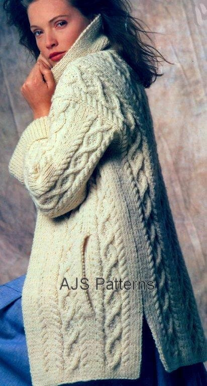 Knitted Jacket Pattern : PDF Knitting Pattern for a Ladies Cabled Aran by TheKnittingSheep