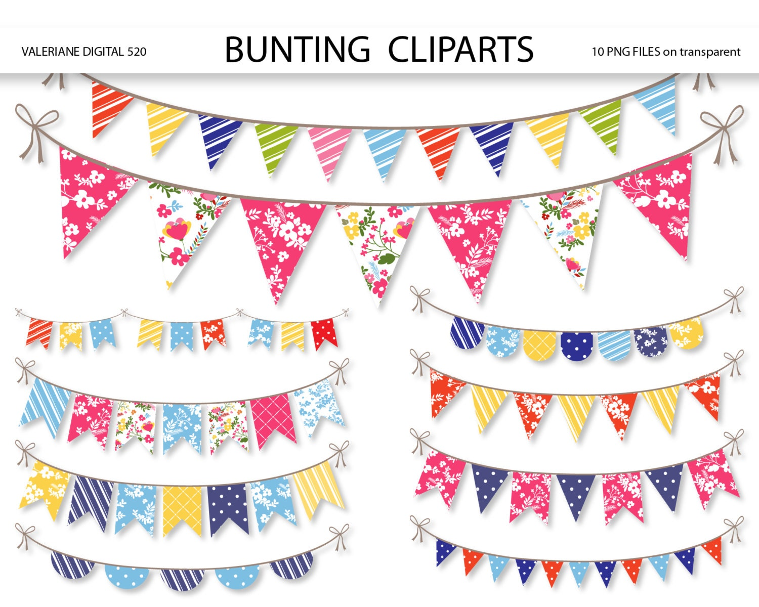 Beach Clipart Border Bunting banners clipart
