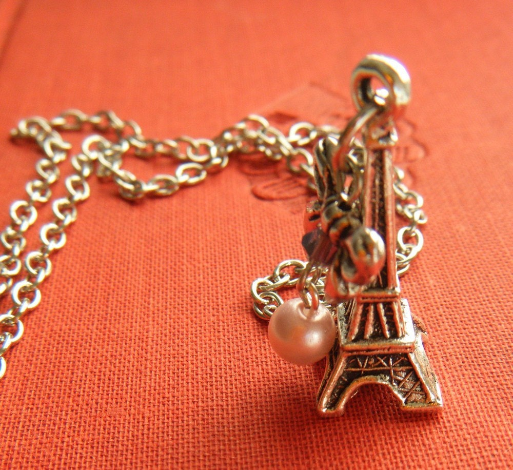 J'adore Paris Eiffel Tower Charm Necklace by BloueyAccessories from etsy.com