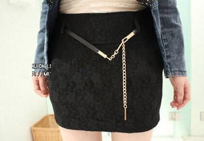 Jukugal black lacy mini skirt with handmade belt super chic S
