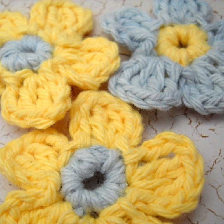 Crochet Flowers Yellow and Silver Gray Forget Me Nots (Set of 3)