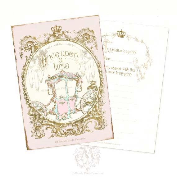 Once upon a time invitations cinderella carriage by Cinderella afternoon tea