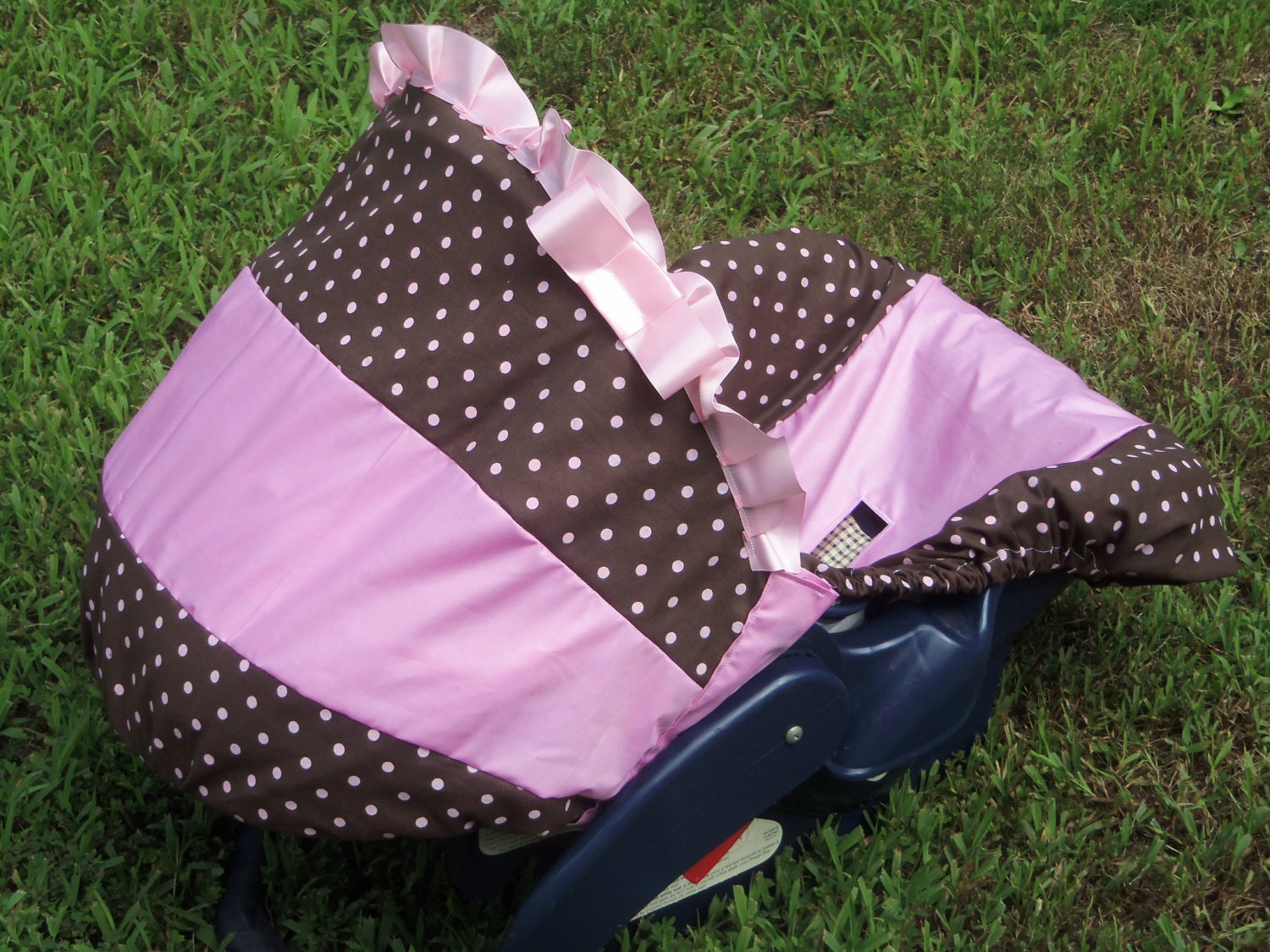 items similar to polka dot brown pink baby car seat cover infant seat cover slip cover dot pink. Black Bedroom Furniture Sets. Home Design Ideas