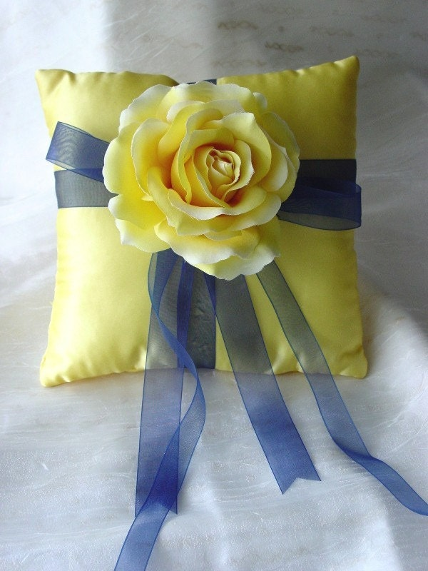 SALE--Lemon Yellow and Navy Blue-Rose of Texas-Ring Pillow-Perfect for Summer Weddings--SALE