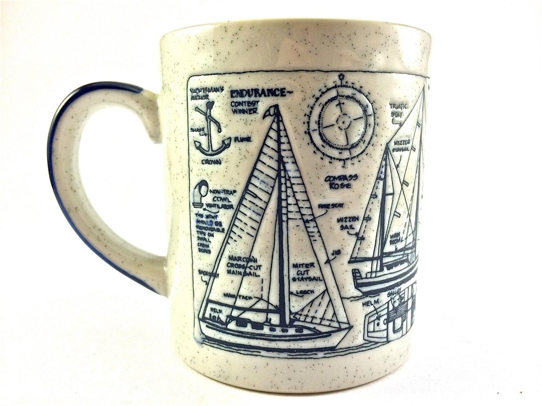 Vintage Nautical White and Blue Mug - EagleWingVintage