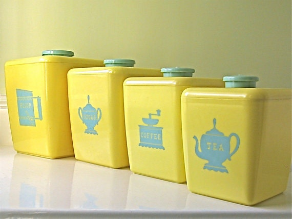 vintage kitchen canisters yellow aqua by marigoldstr on etsy