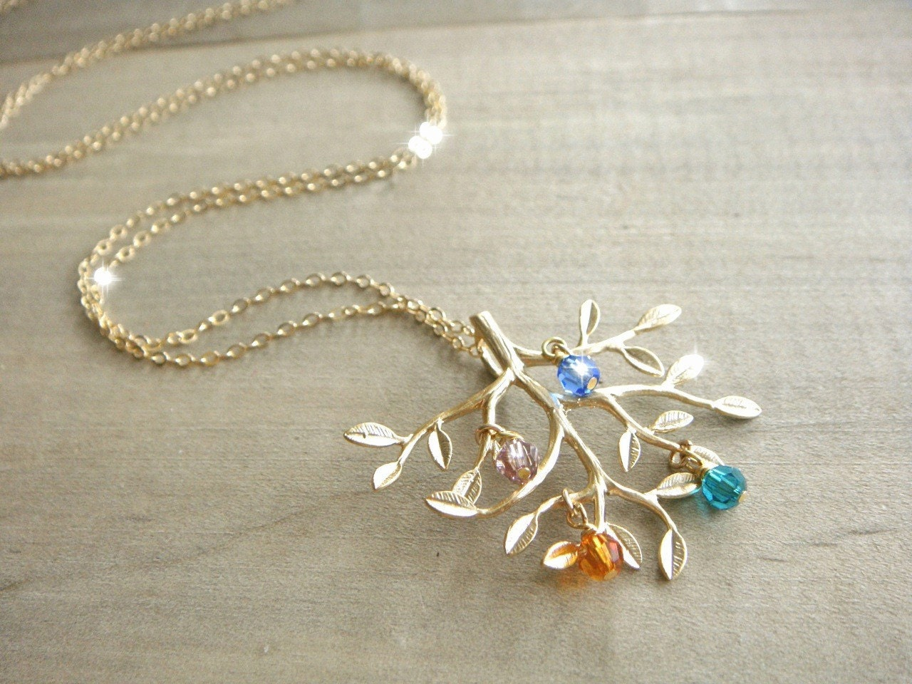family tree necklace in gold with birthstones 14k by beazuness. Black Bedroom Furniture Sets. Home Design Ideas