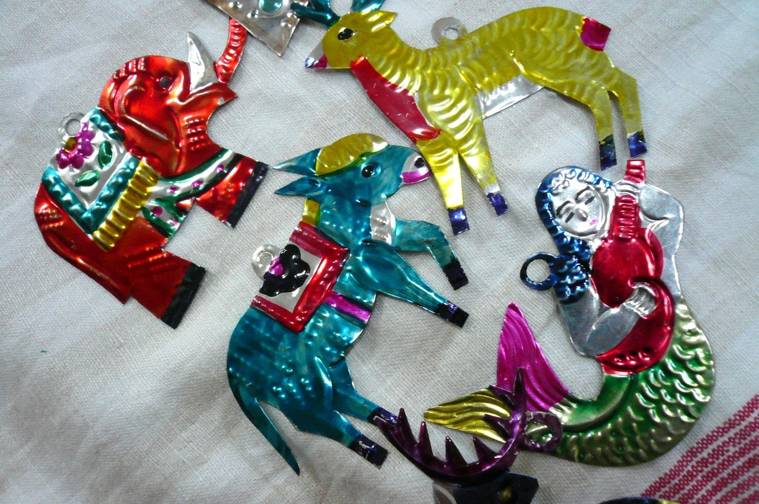 Vintage Tin Christmas Tree Ornaments : Vintage christmas ornaments mexican tin animals by