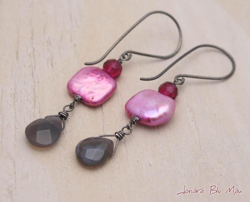 Fuschia Pink Pearl and Gray Agate Earrings - JonaraBluMauiJewelry