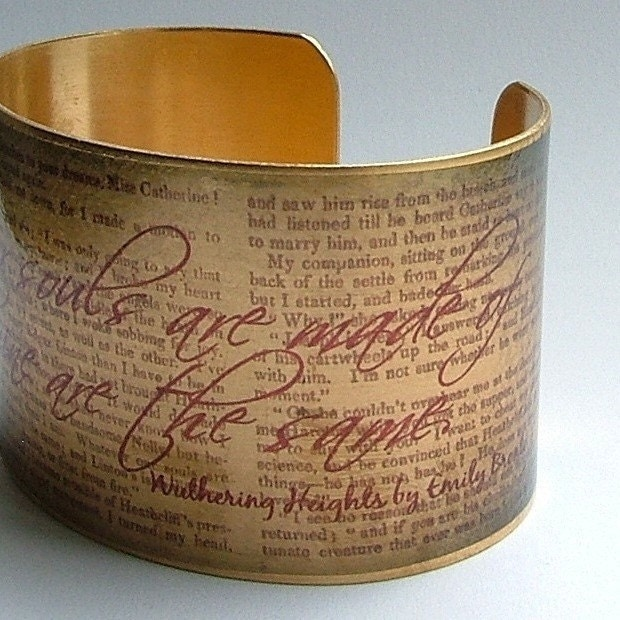 Wuthering Heights Book Emily Bronte's Haunting Literary Classic Brass Cuff Bracelet - Valentine's Day