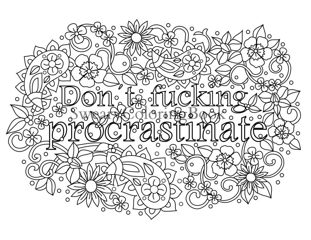 Adult Swear Words Coloring Book Pages Sketch Coloring Page