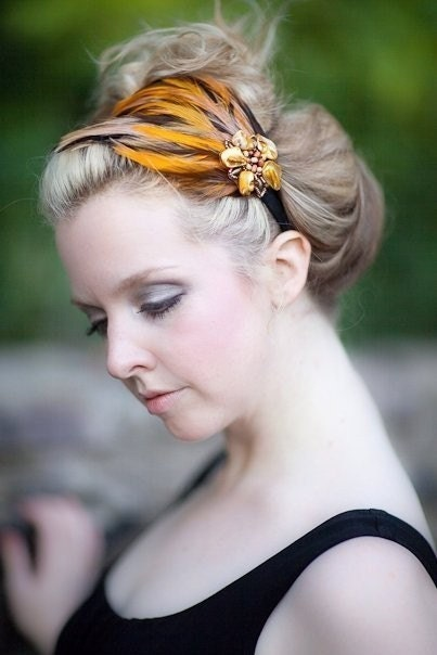 A N D I - Handmade  Mix Plumage Feather Headband  With Shell and Beaded Accent Treasury Featured