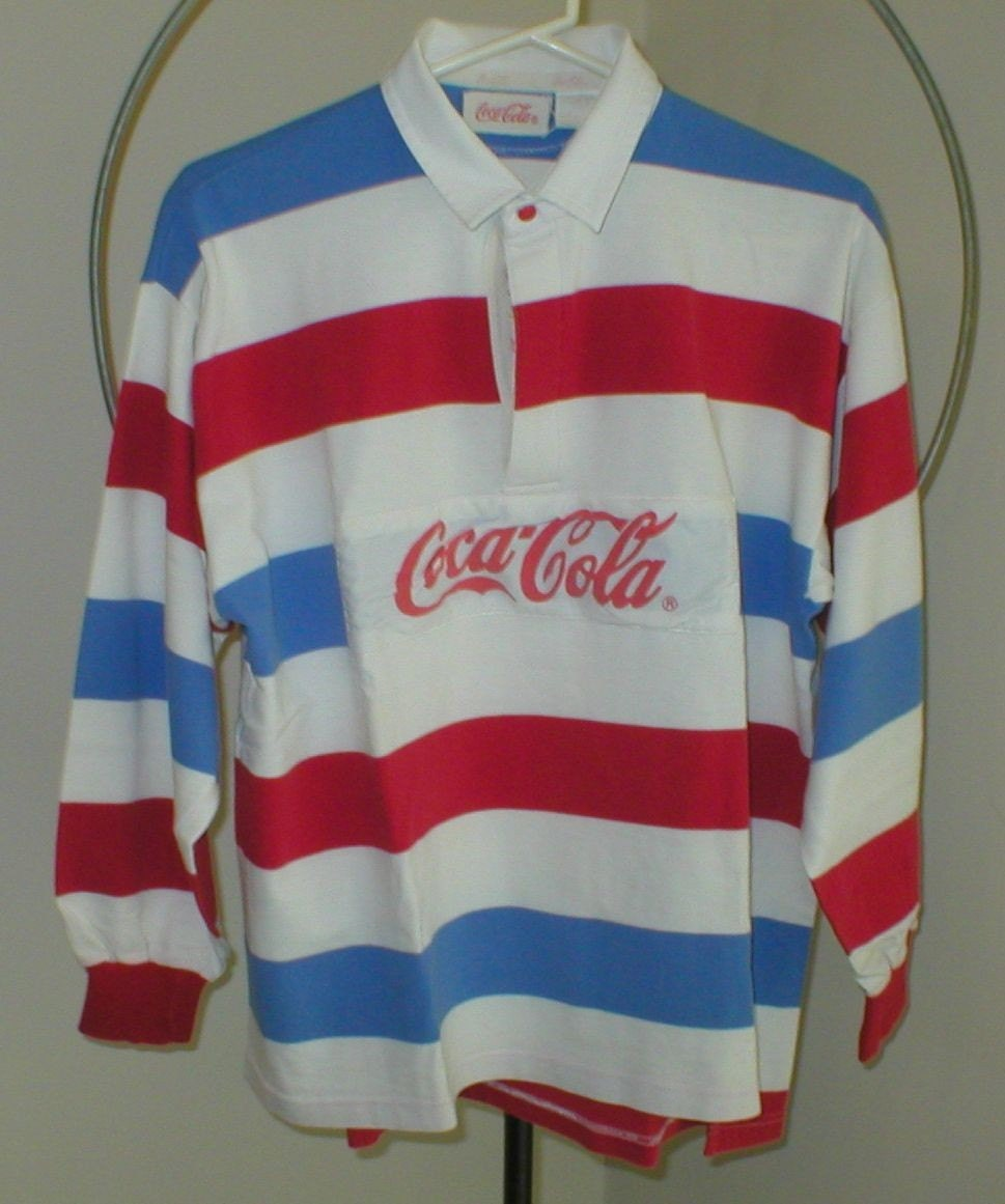 Coca Cola Coke Rugby Shirt Long Sleeve Vintage By Vintagegifts