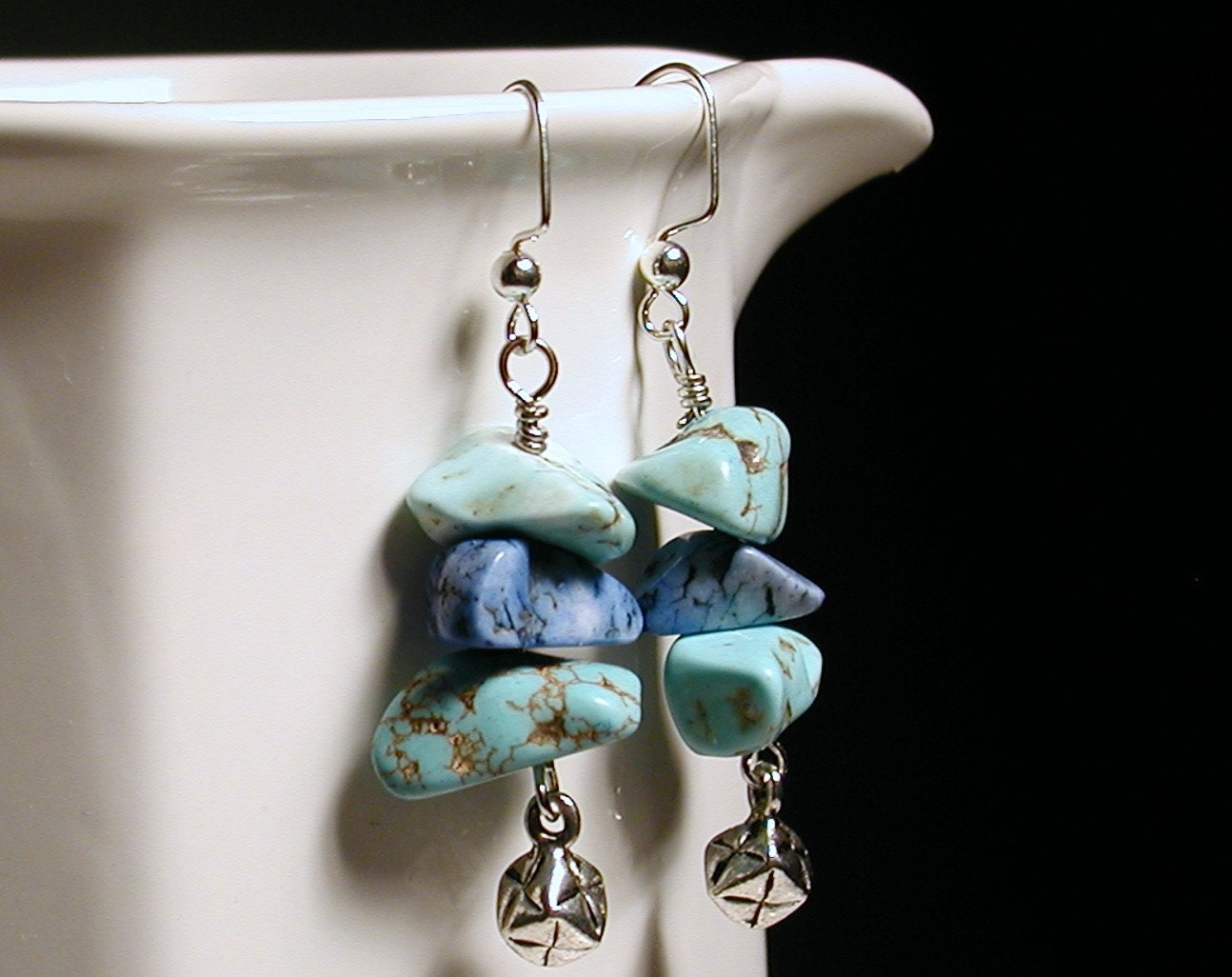 RIVERSTONES  Howlite Gemstone Earrings by endlessbounty on Etsy