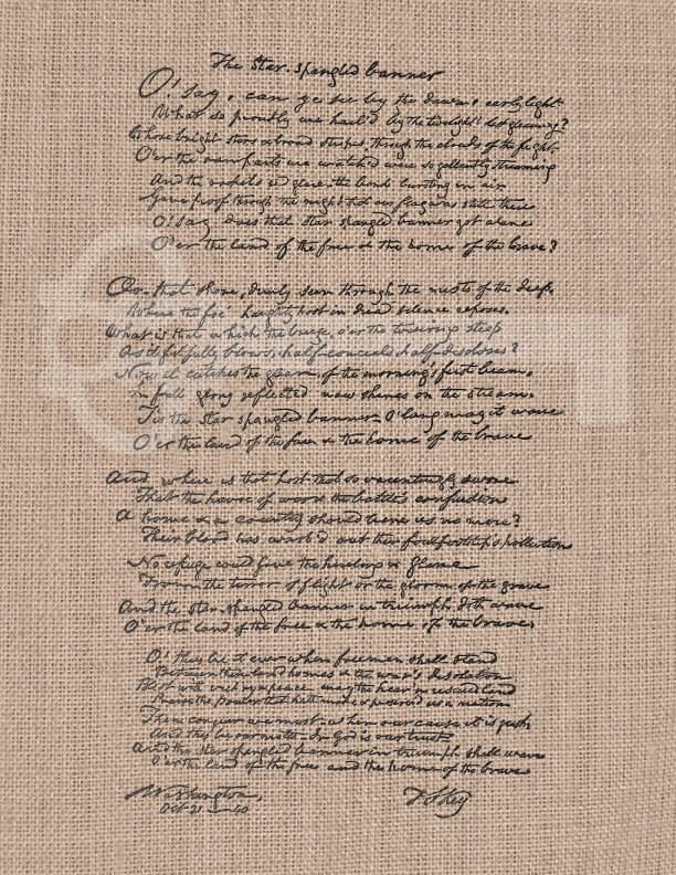 Star Spangled Banner vintage lyrics Graphic digital download: Image No ...