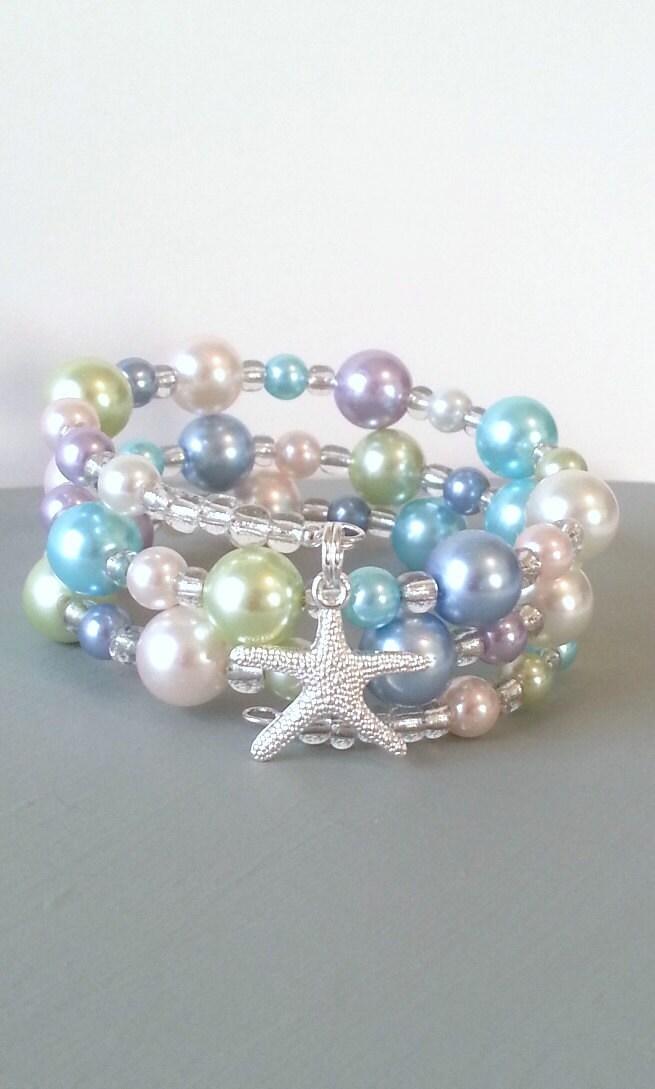 Pastel pearl starfish memory wire bracelet, spring colors beach bracelet - beachseacrafts
