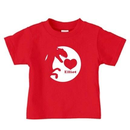 Personalized valentine dinosaur shirt for kids t rex heart shirt