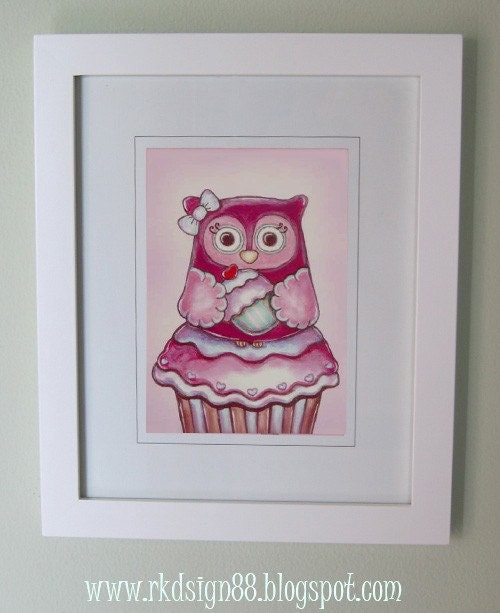 rkdsign88.blogspot.com owl etsy illustration drawing art print cute whimsical reproduction animal cupcake
