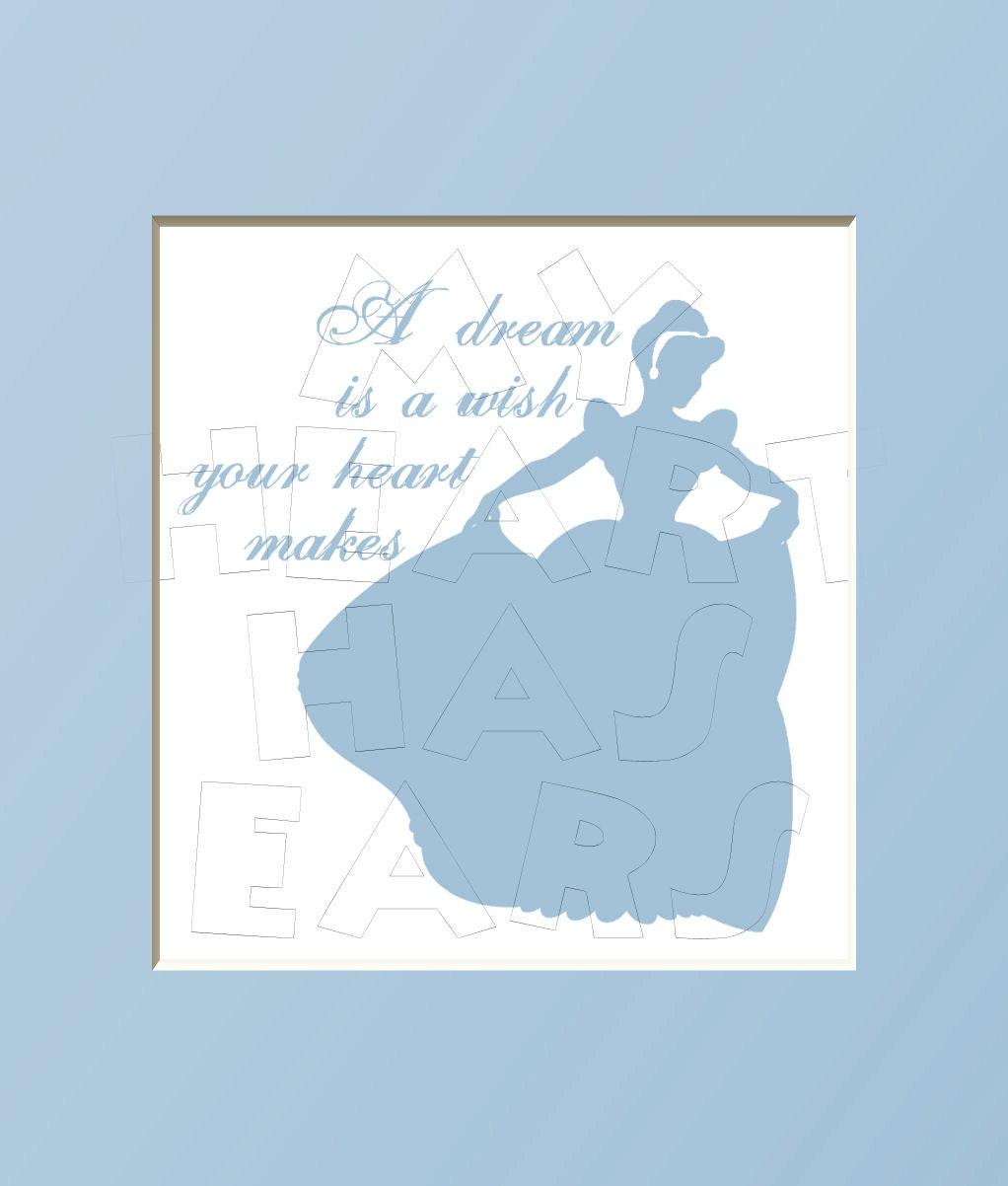 Printable DIY Cinderella silhouette A dream is a wish your heart makes    Printable Cinderella Silhouette