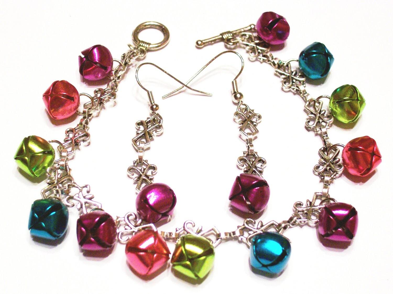 jingle bell bracelet earring set antique by