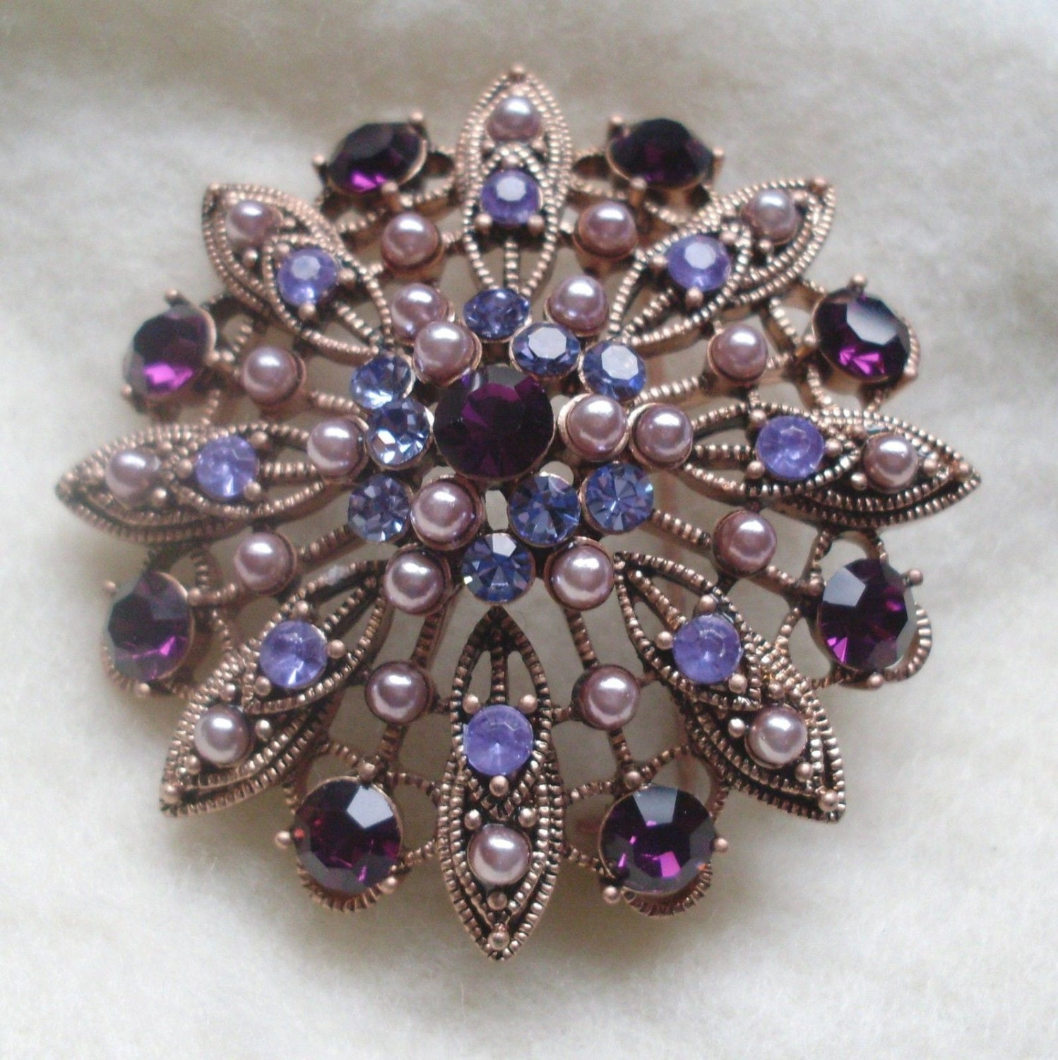 Vintage LIZ CLAIBORNE Purple and Lavender Rhinestone Faux Pearl Domed Antiqued Gold Filigree Brooch Pin Jewelry Gift - MemawsTopDrawer