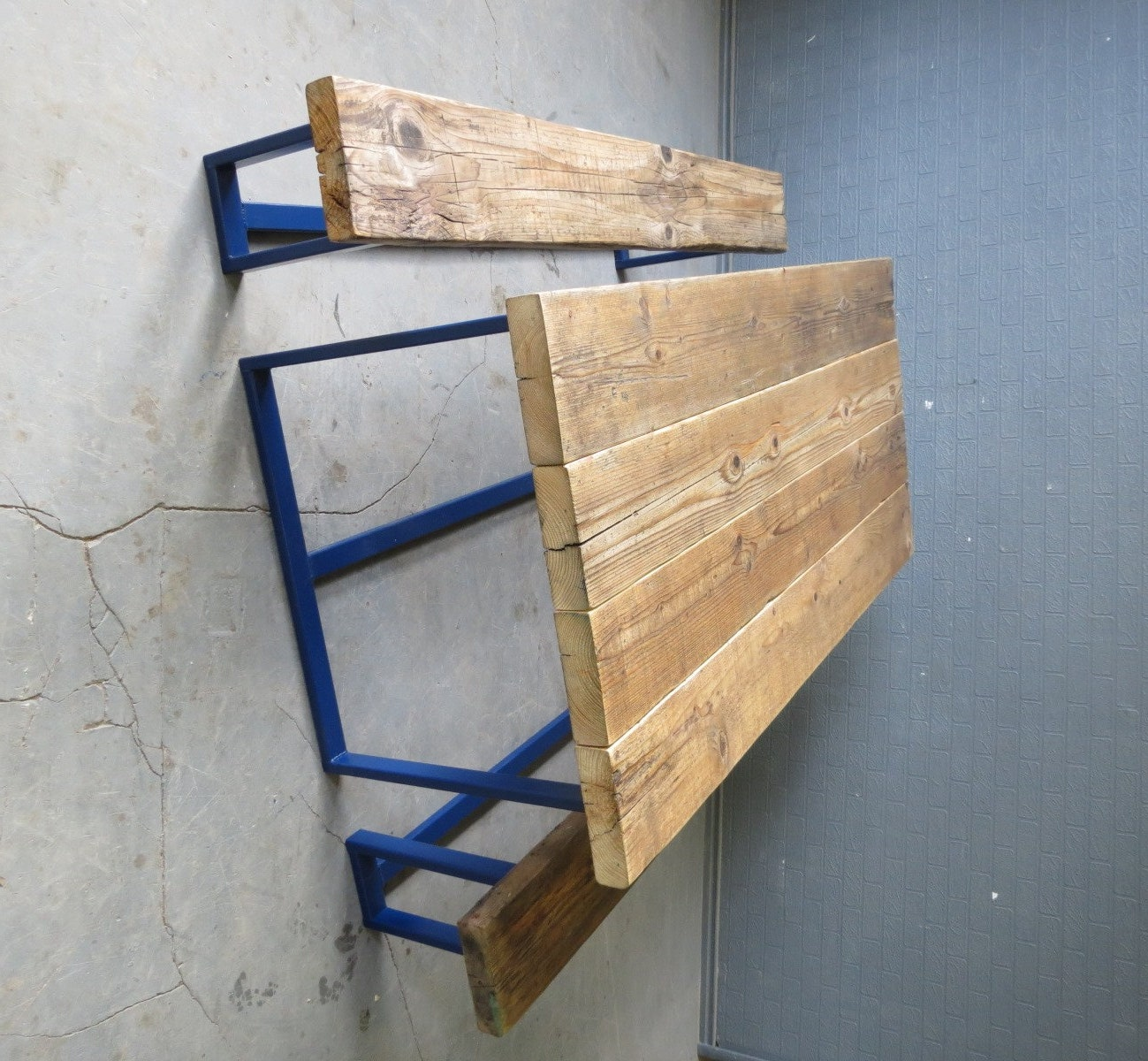 reclaimed industrial chic seater solid wood and metal tattoo