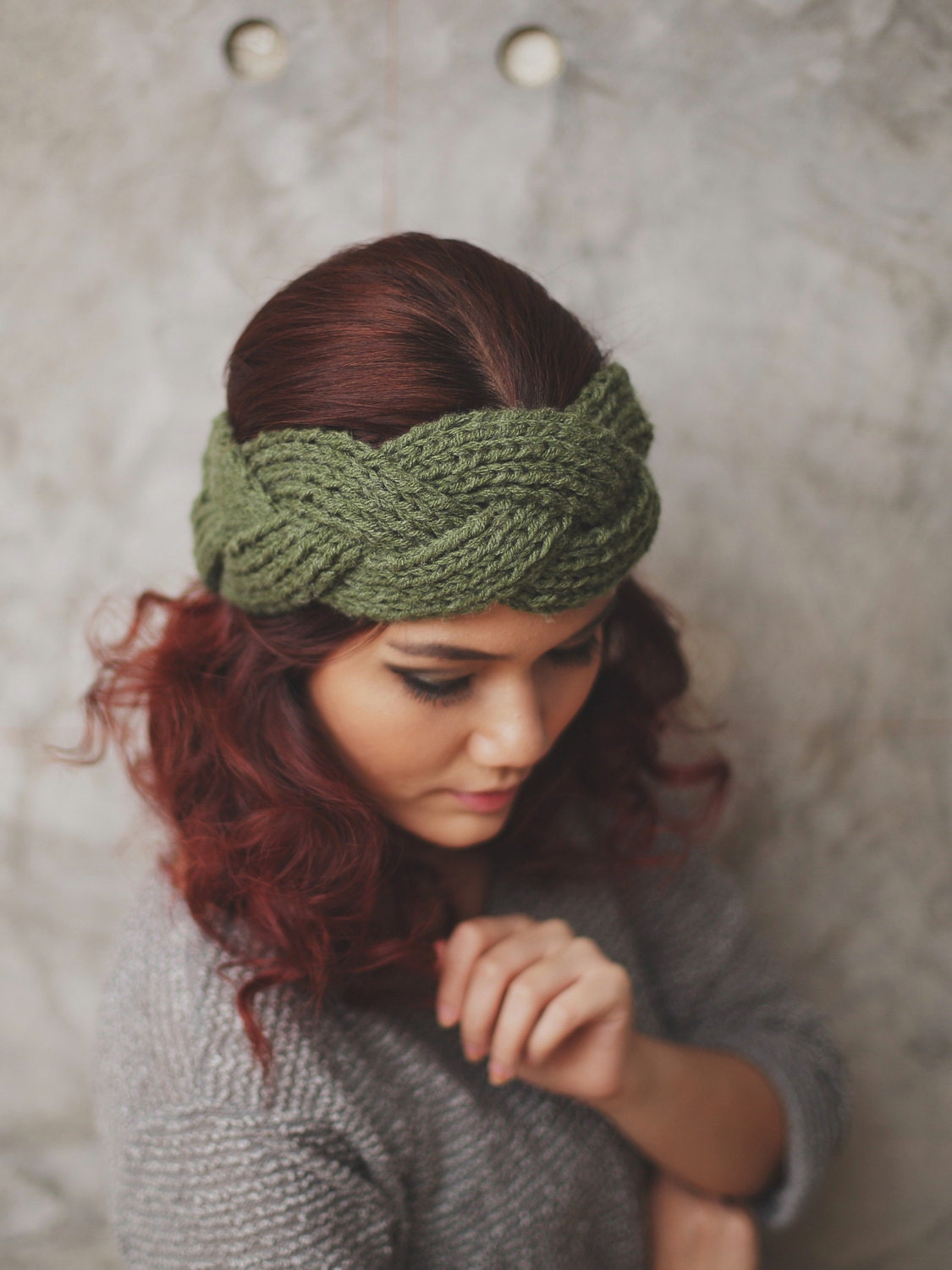 NEW : Braided Olive Knit Headband Head Warmer Ear by RumraisinA