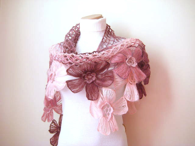 Pink Floral Shawl - Girly, Light, Powder, Blush and Dark Pink Triangle Accessories - Gift for Her - Ready to Ship - beeMAYA