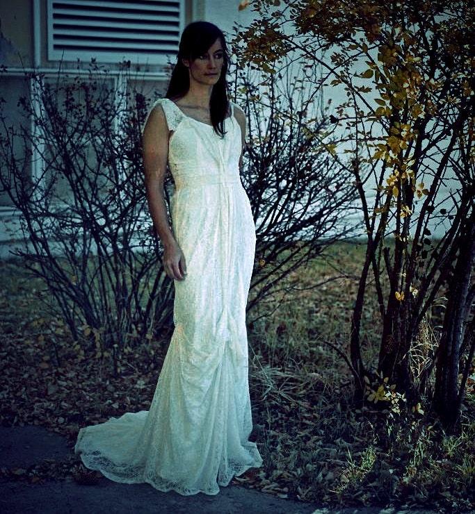 Wedding Dress Thin Lace Straps : Boho wedding dress thin strap draped lace fit and by