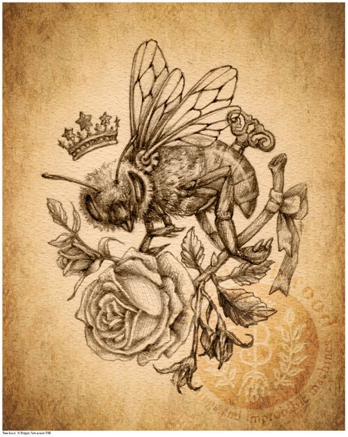Items similar to Victorian Steampunk HoneyBee Rose - Art Print ...
