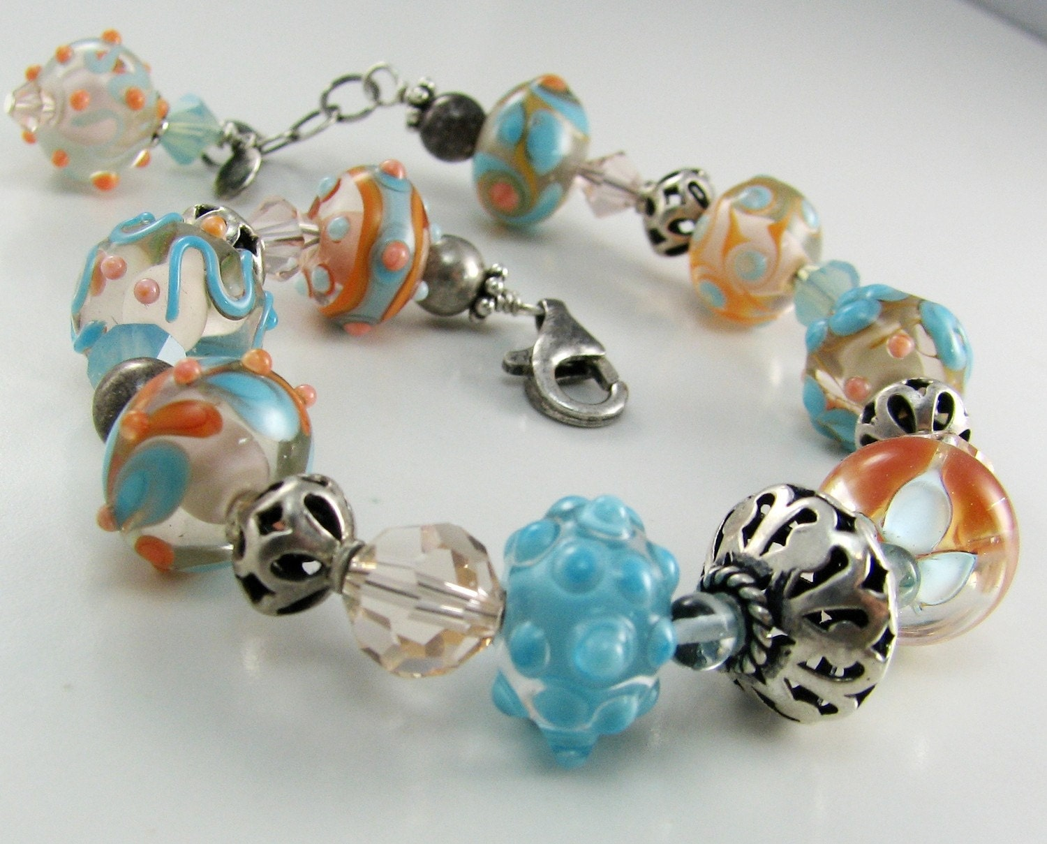Aqua and Peach artisan lampwork bracelet Spring Fresh