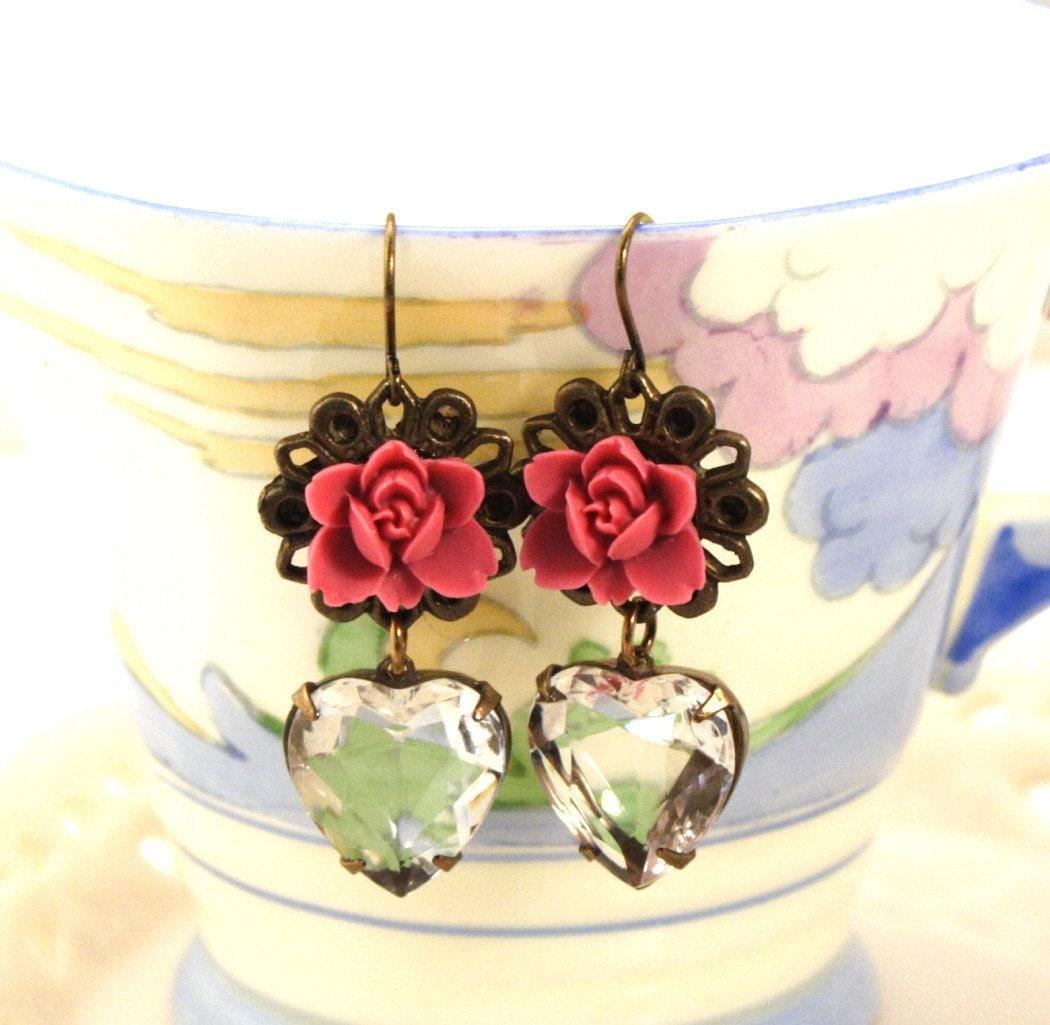 Pomegranate Flower and Vintage Heart Jewel Earrings