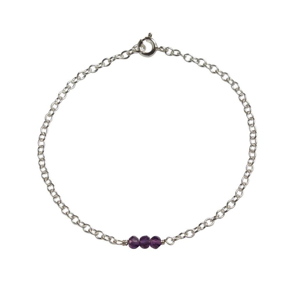 February Birthstone Bracelet Genuine Amethyst Bracelet Birthstone Bracelet Birthstone Jewellery Dainty Gemstone Bracelet Silver