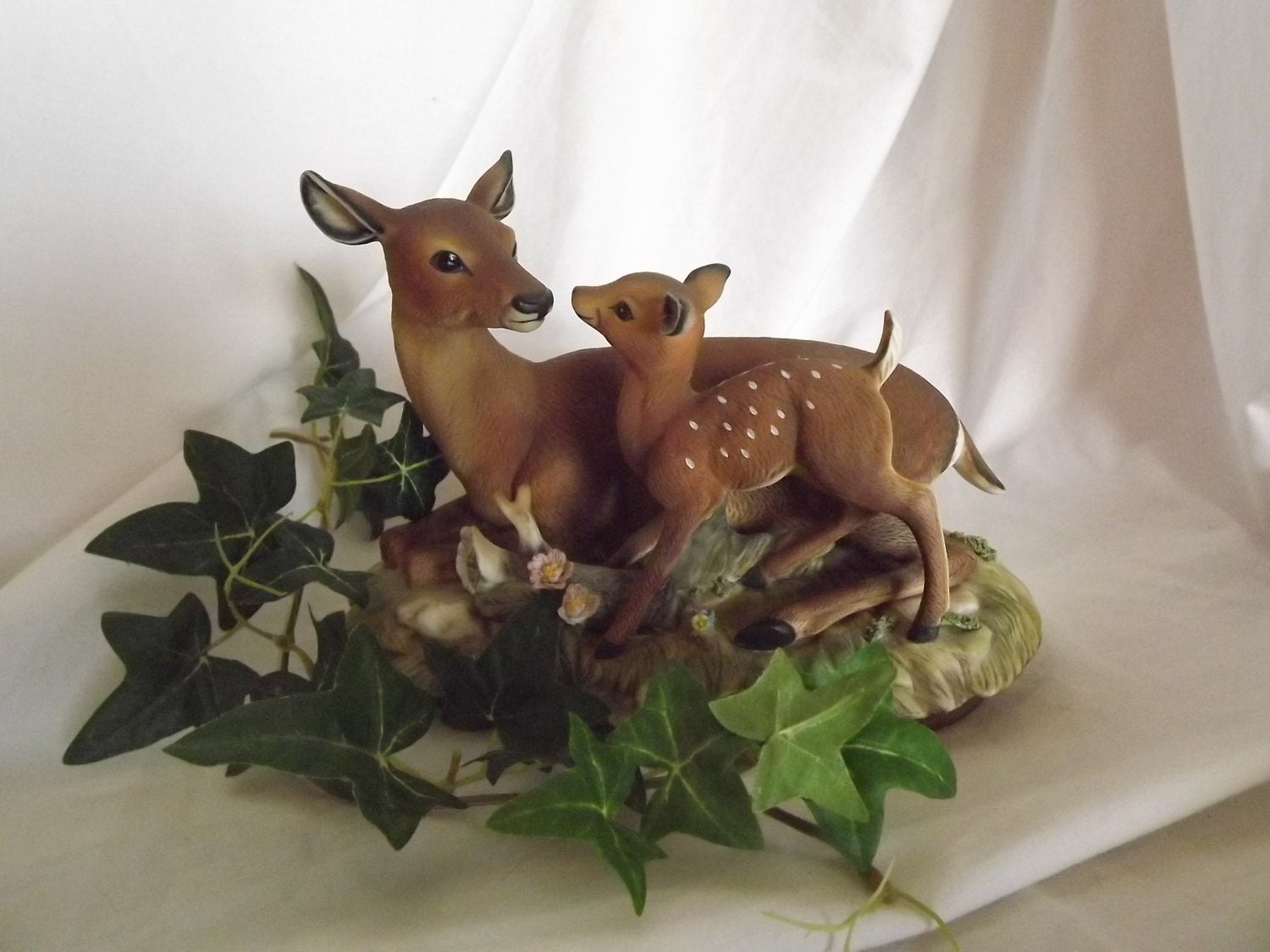 Vintage Homco Deer And Fawn Home Interiors Figurine By