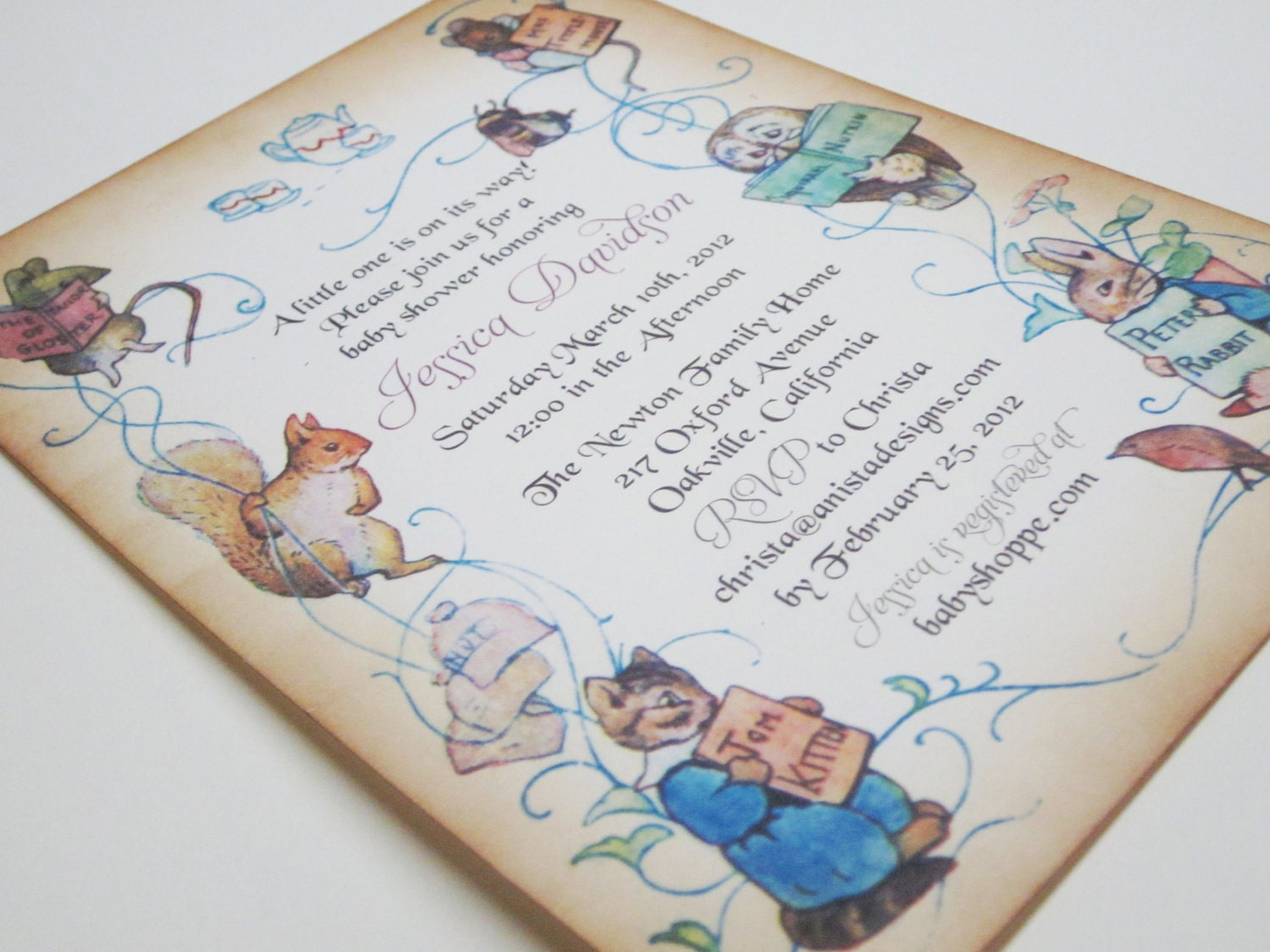 Baby Shower Invitation Peter Rabbit vintage by anistadesigns