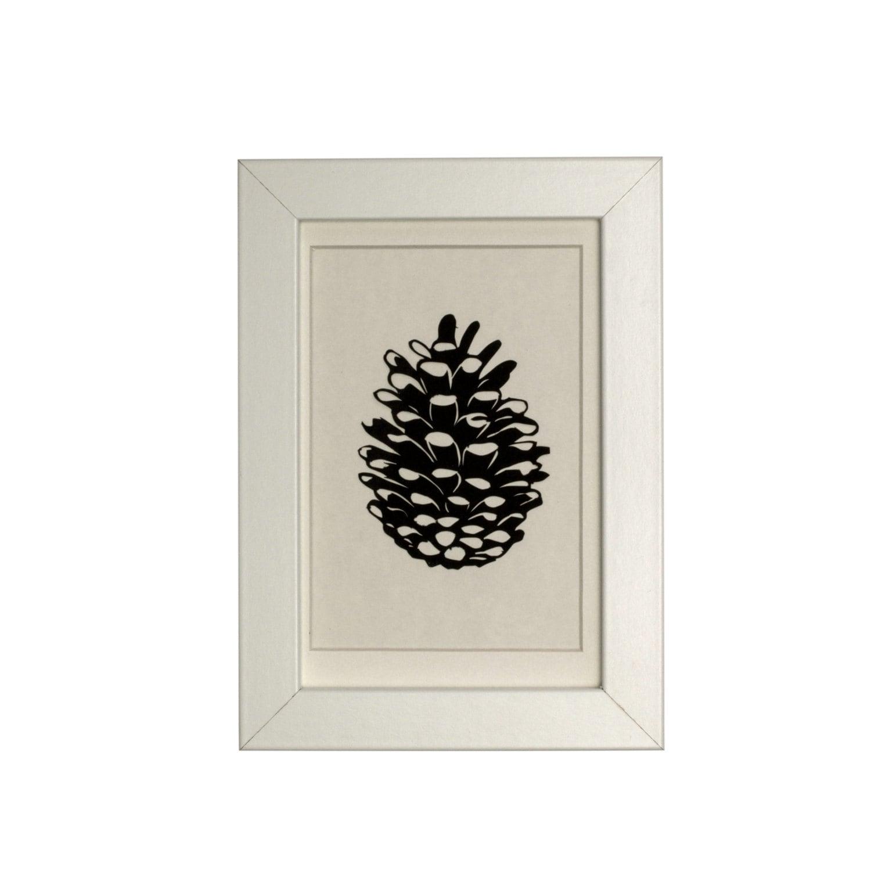 Pinecone Papercut Original Art - rosieplustheboys