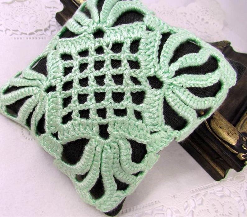 Linen Pincushion Irish Crochet Lace Motif