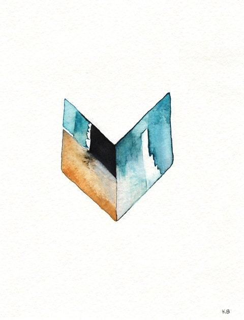 Chevron/Geometric Chevron / Aqua, tan, white, blue/ Watercolor Print - kellybermudez