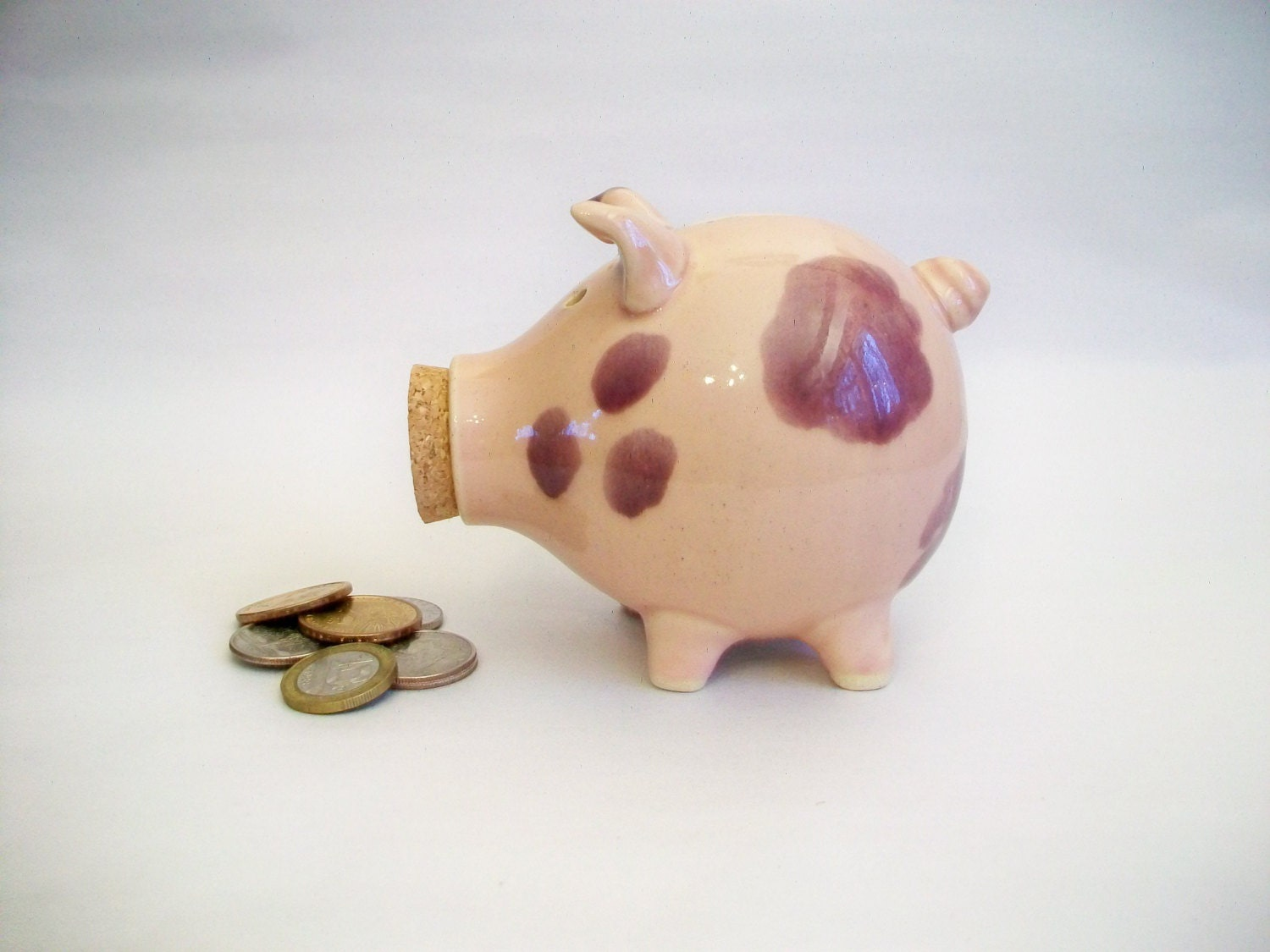 Piggy Bank - Pink with Lovely Violet-Purple Spots - Handmade on the Potters Wheel