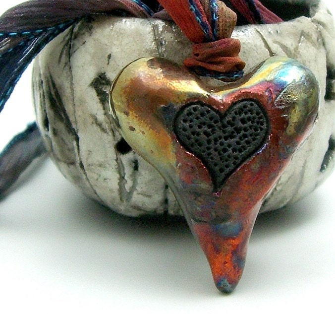 Raku Black Heart Pendant Raku Ceramic Jewelry by MAKUstudio