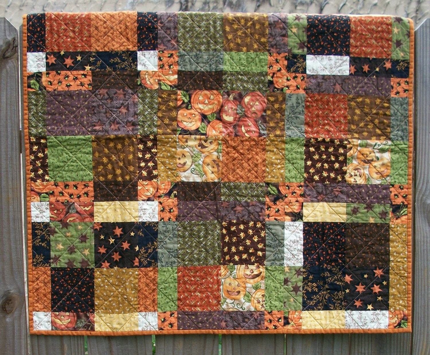 October Glow Quilted Handmade Patchwork Halloween Table Topper