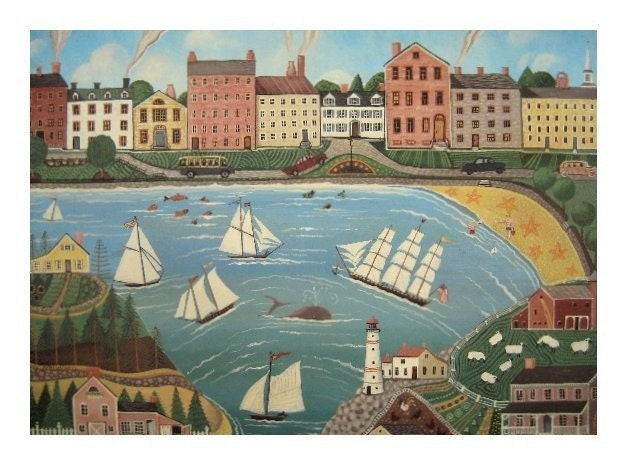WHALE IN TOWN Limited Edition Folk Art Print NEW ENGLAND BOSTON HARBOR POSTER Sailboats, Sea Town