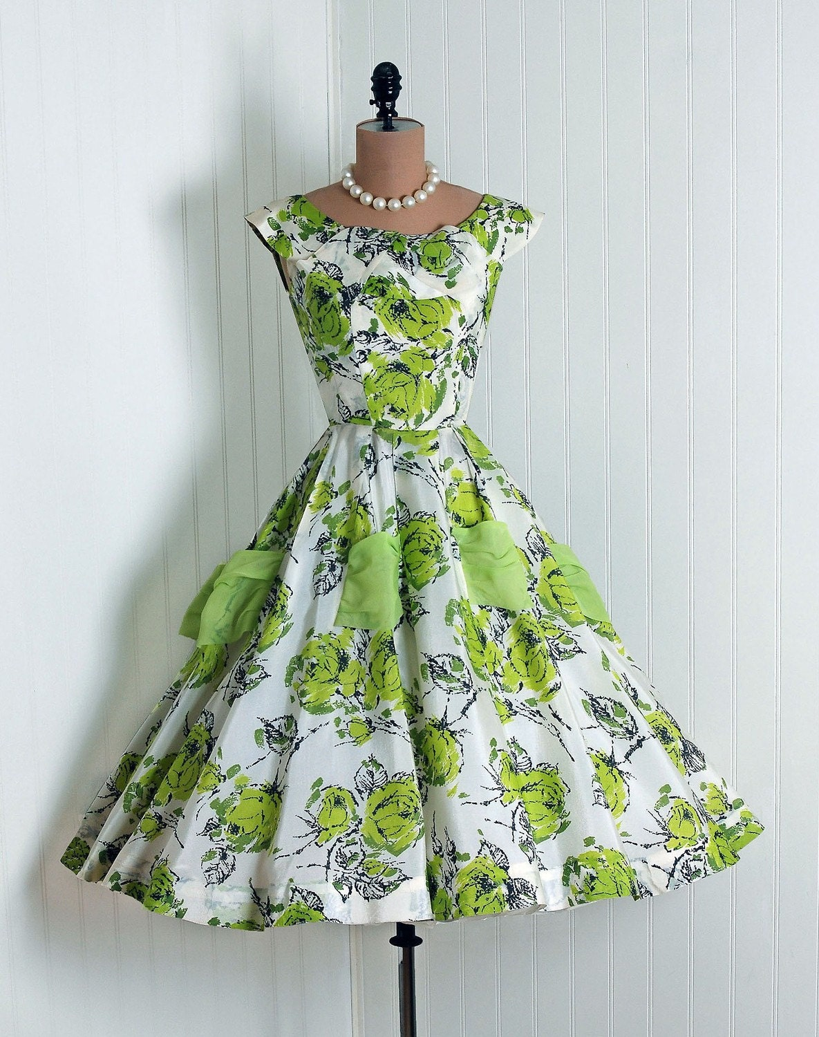 Inspired By Kelly Vintage Green Floral Party Dress