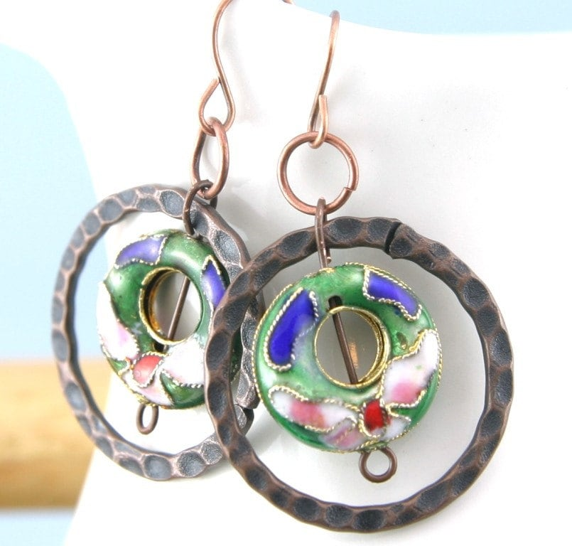 Cloisonne Rings of Green On Copper Earrings