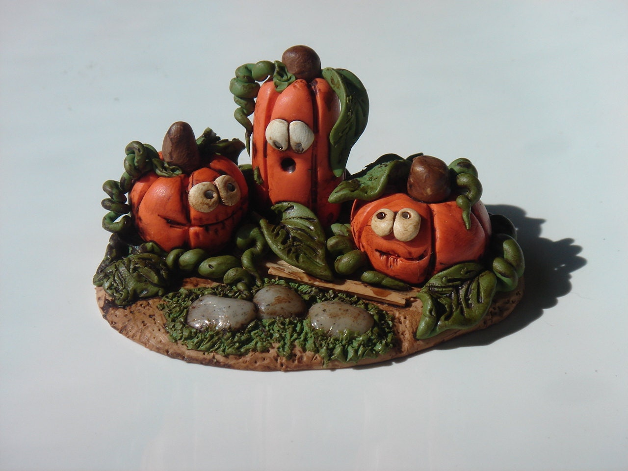 Halloween trio of pumpkins in patch, polymer clay OOAK - TheClaysTheThing
