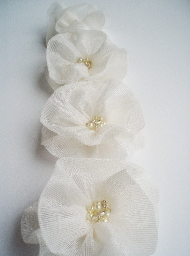 Ivory Flowers Handmade Appliques Embellishments4 by BizimSupplies from etsy.com