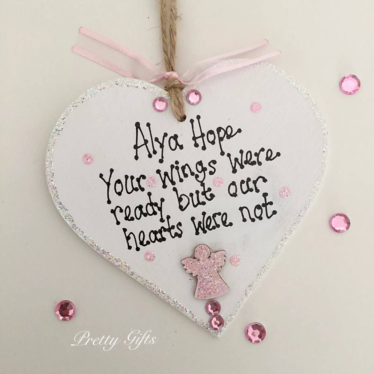 Personalised your wings were ready but my heart was not indoor bereavement angel heart plaque keepsake gift