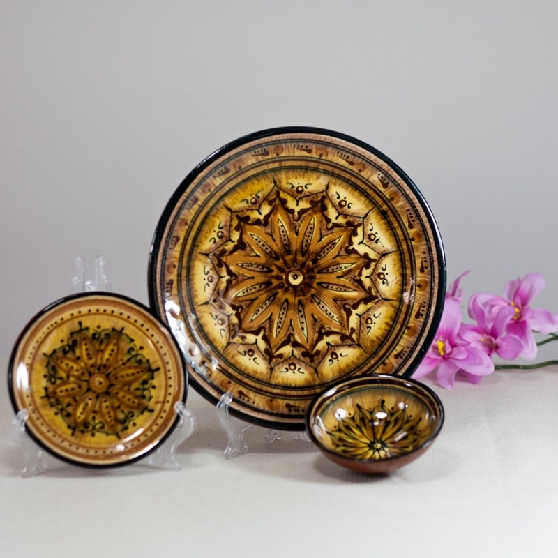 Small Decorative Plates Sets: Moroccan Ceramic Plates: Set Of 2 Plates And A By